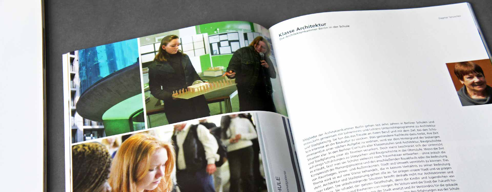Inside pages of the brochure Architektur und Schule for the Chamber of Architects Berlin; Design: Kattrin Richter | Graphic Design Studio
