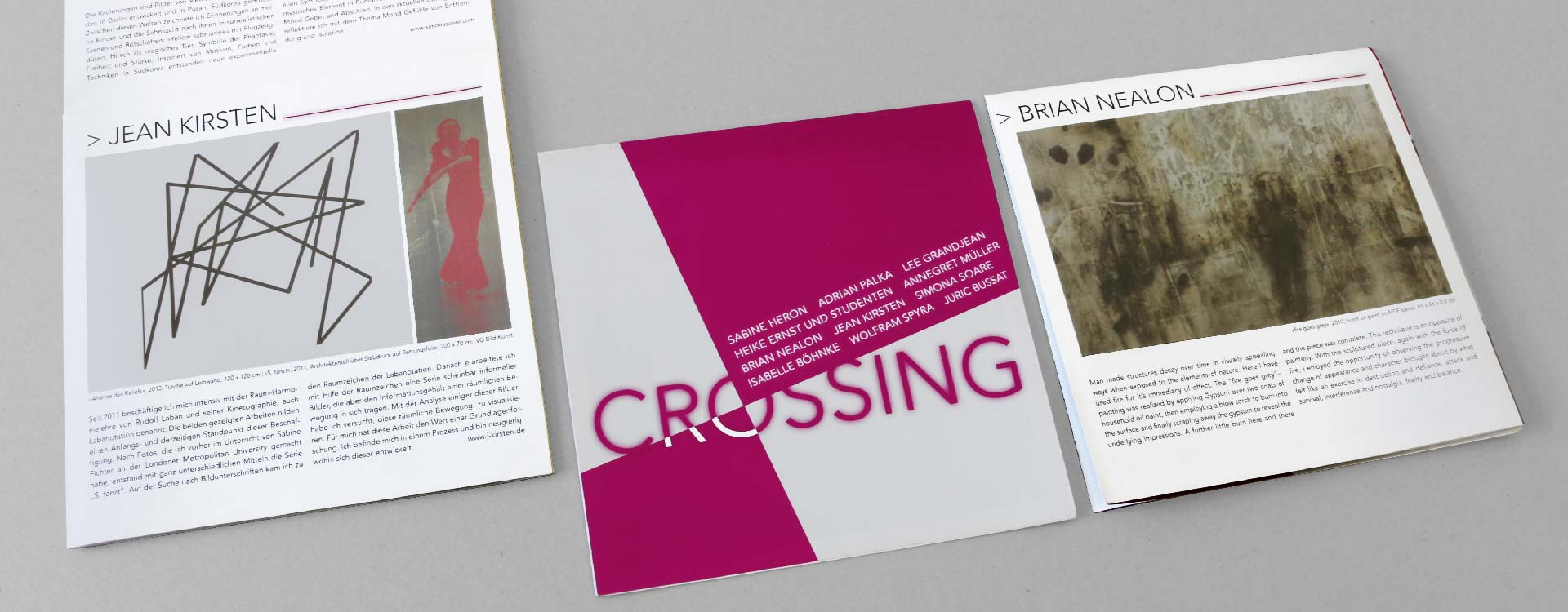 Leaflet for the exhibition Crossing in the Spreehöfen in Berlin Schöneweide; Design: Kattrin Richter | Graphic Design Studio