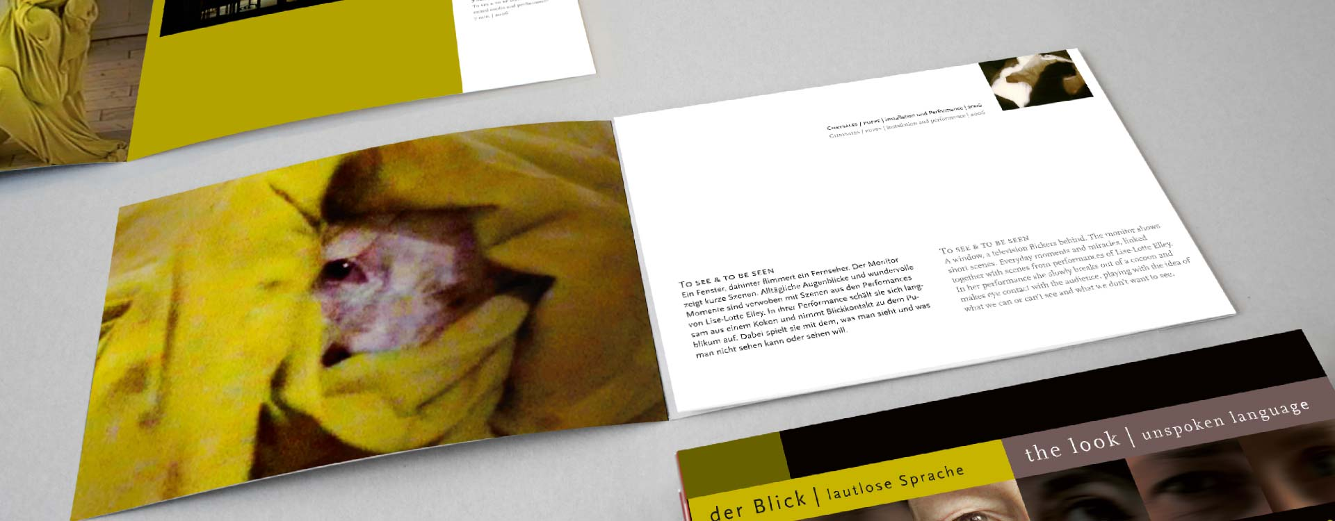 Leaflet about the work of Lise-Lotte Elley in the exhibition Der Blick; Design: Kattrin Richter | Graphic Design Studio