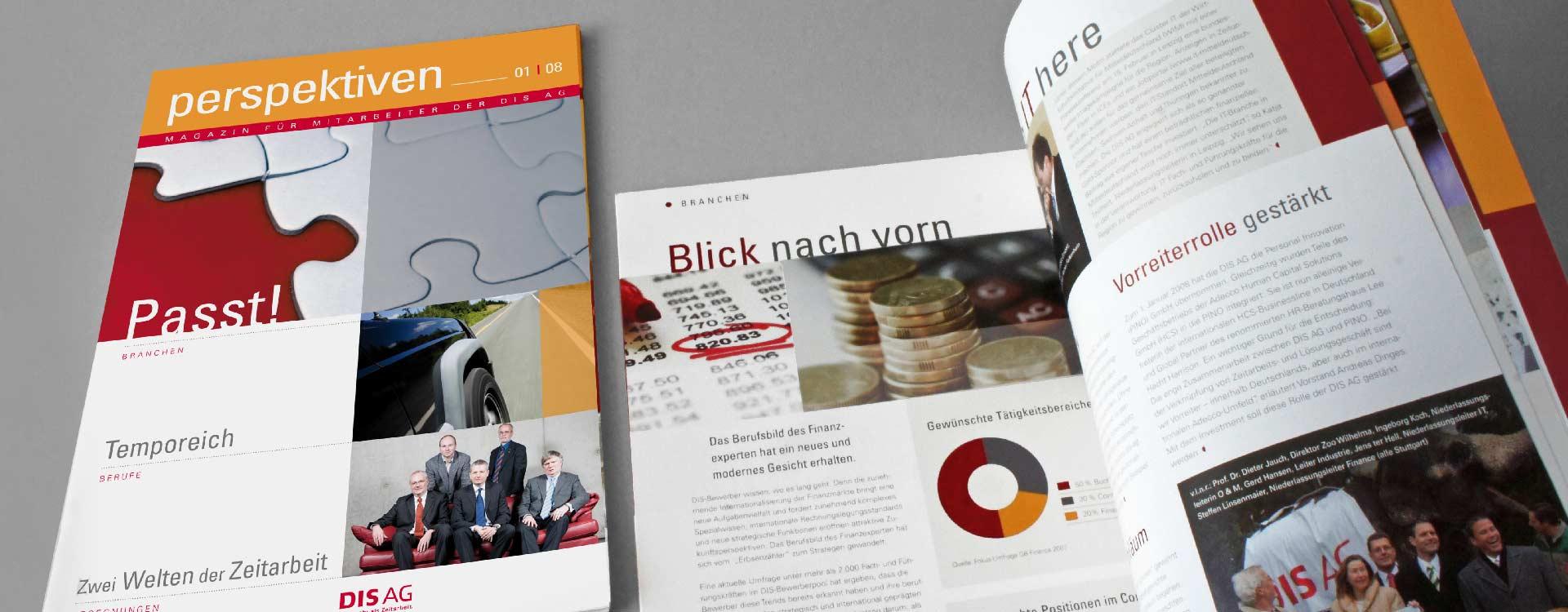 """Titel und Innenseiten des Mitarbeitermagazins """"Perspektiven"""" der DIS AG"""