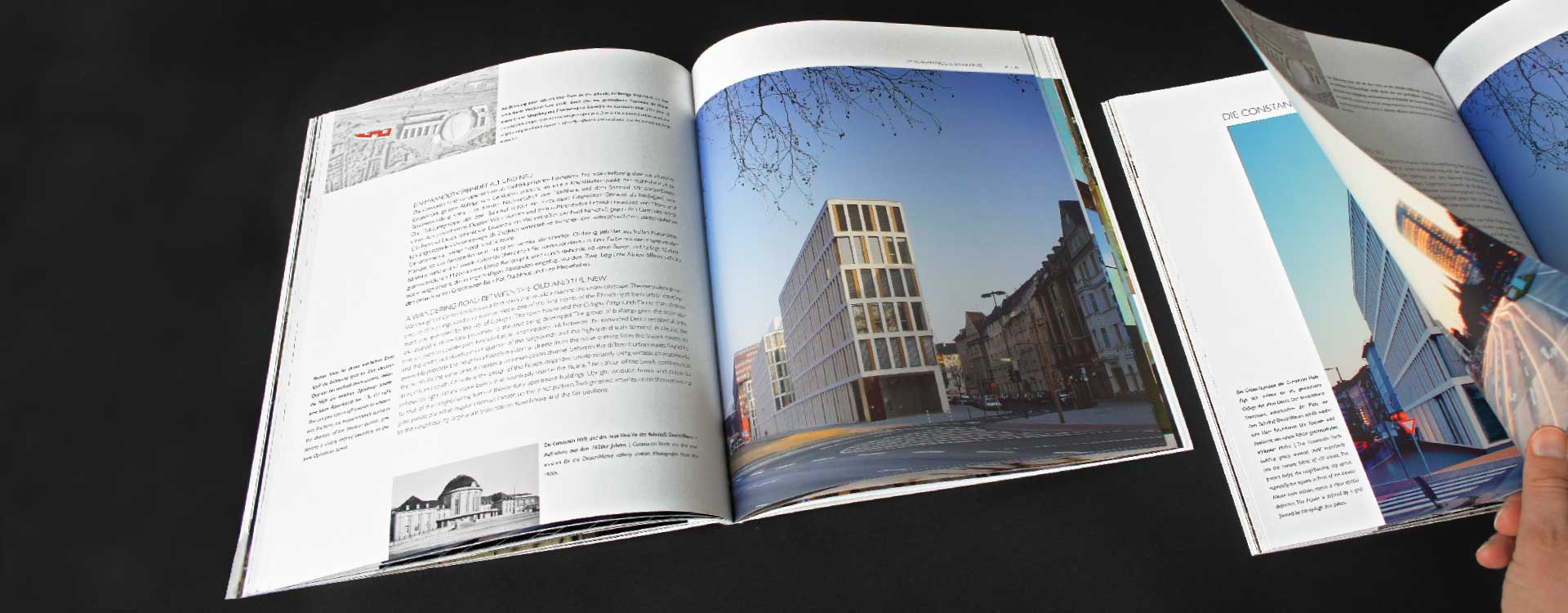 Inside pages of image brochure for JSWD Architekten, Köln; Design: Kattrin Richter | Graphic Design Studio