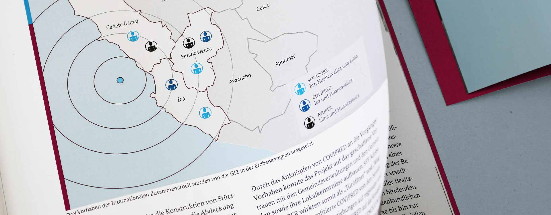Information graphic of the brochure Disaster Preventive Reconstruction in Peru of the GIZ; Design: Kattrin Richter | Graphic Design Studio