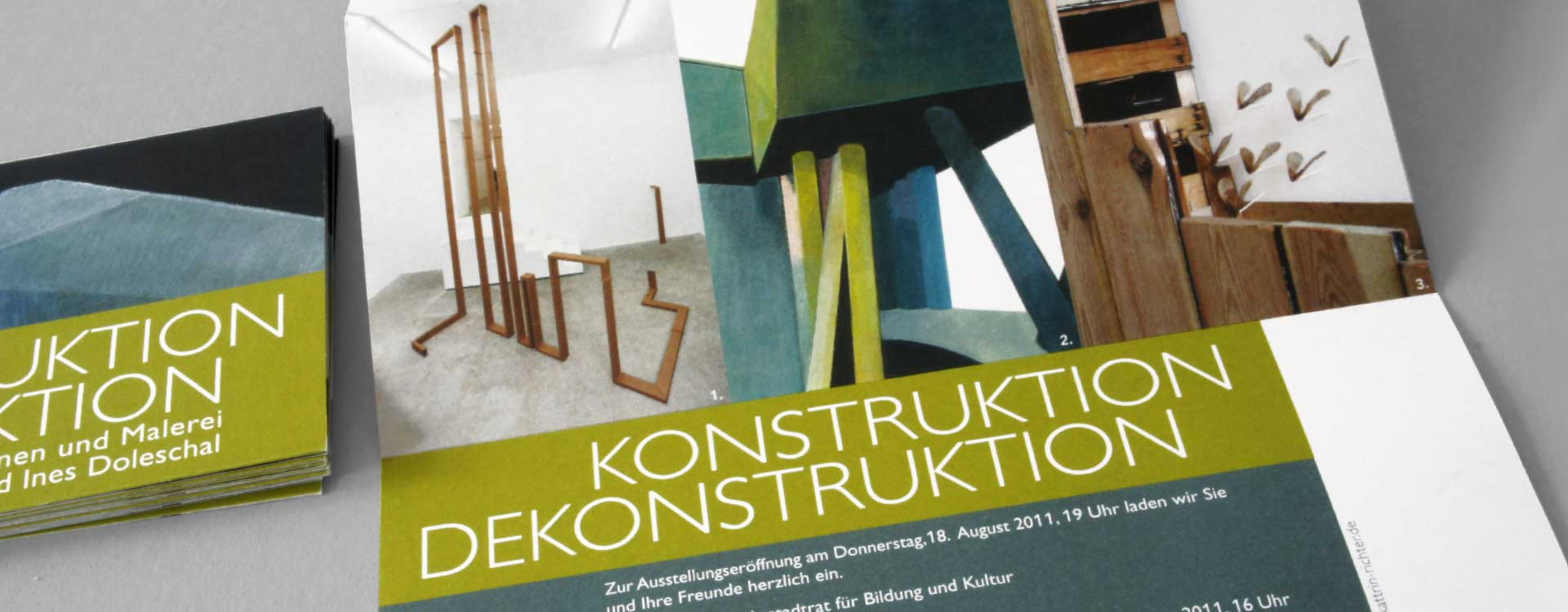 Leaflet for the exhibition Construction Deconstruction in the Alte Feuerwache Project Space Berlin; Design: Kattrin Richter | Graphic Design Studio