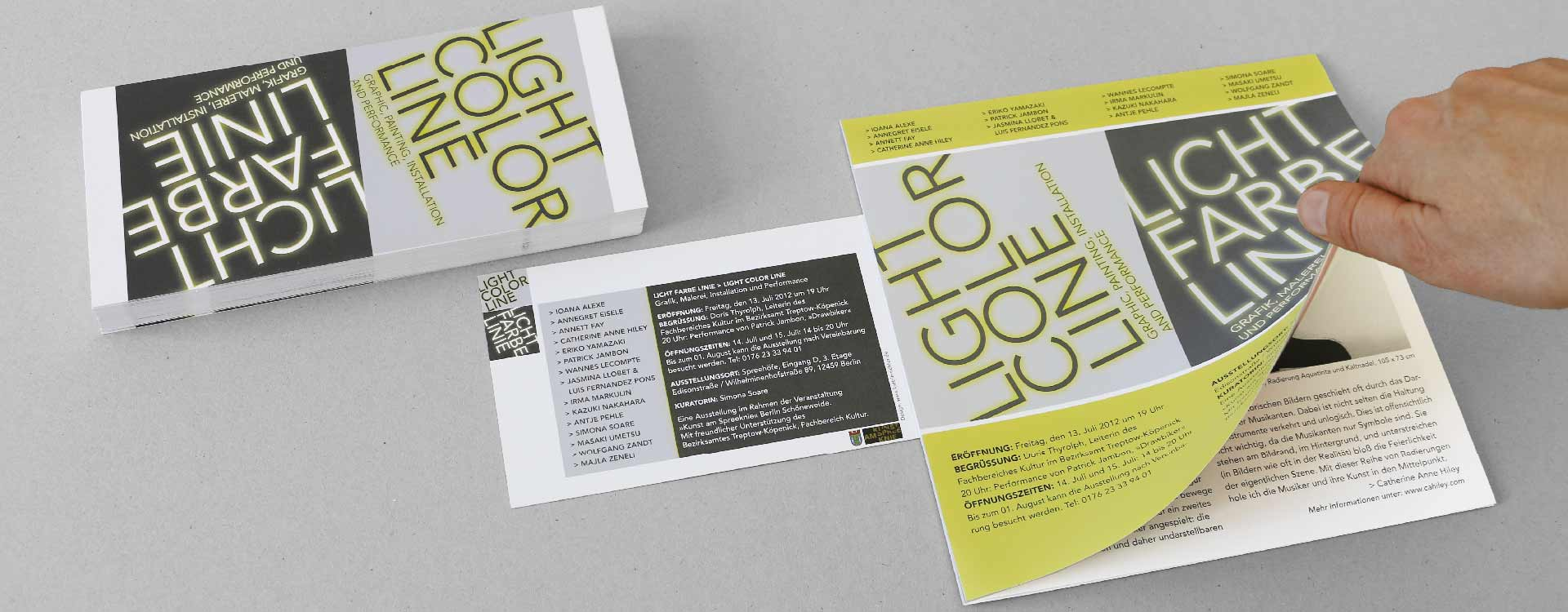 Leaflet and invitation card for the exhibition Light Colour Line in the Spreehöfen in Berlin Schöneweide; Design: Kattrin Richter | Graphic Design Studio
