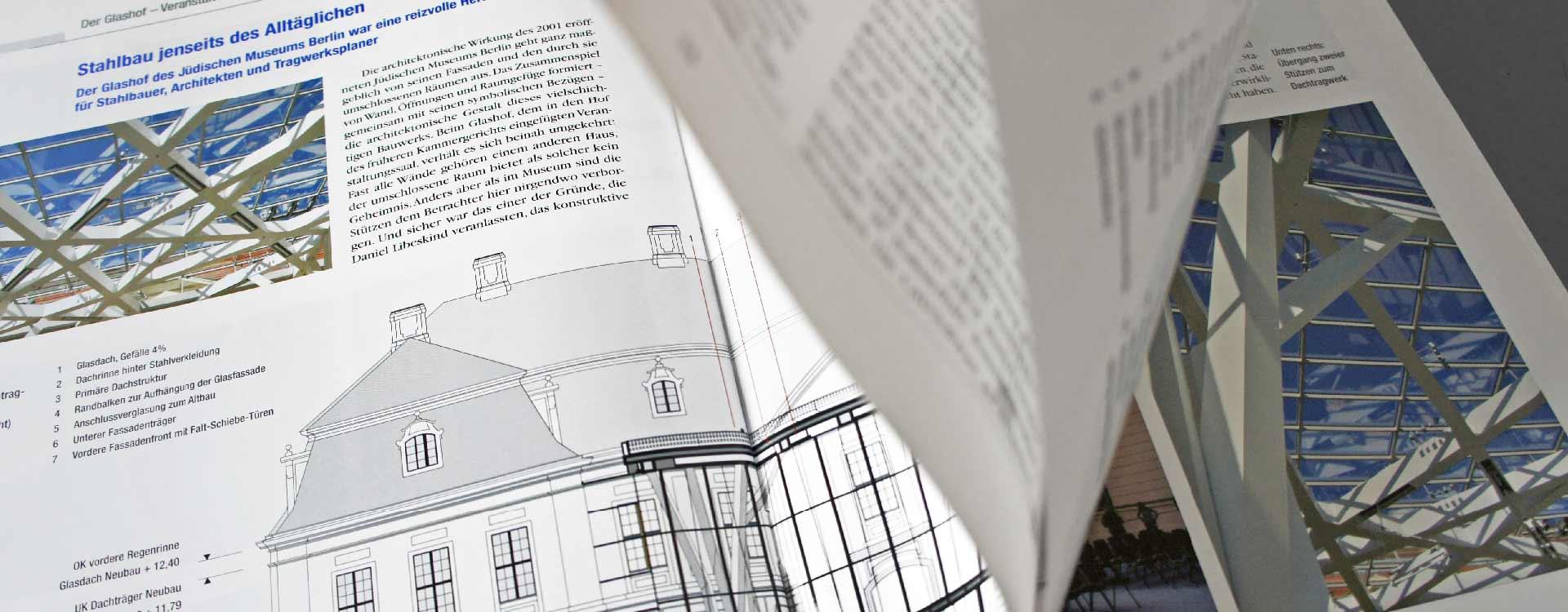 Brochure Der Glashof – Veranstaltungssaal für das Jüdische Museum Stahl-Informations-Zentrum; Design: Kattrin Richter | Graphic Design Studio