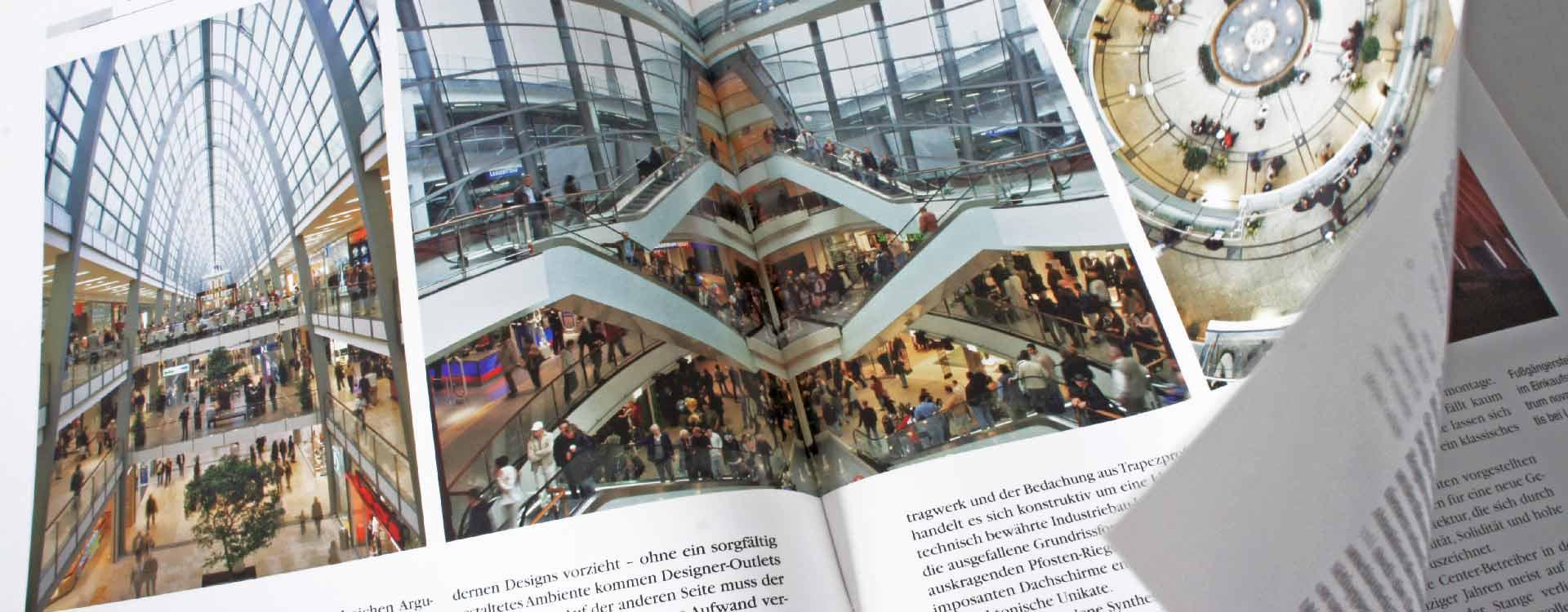 Brochure Einkaufserlebnis in Stahl – Designer Outlets Stahl-Informations-Zentrum; Design: Kattrin Richter | Graphic Design Studio
