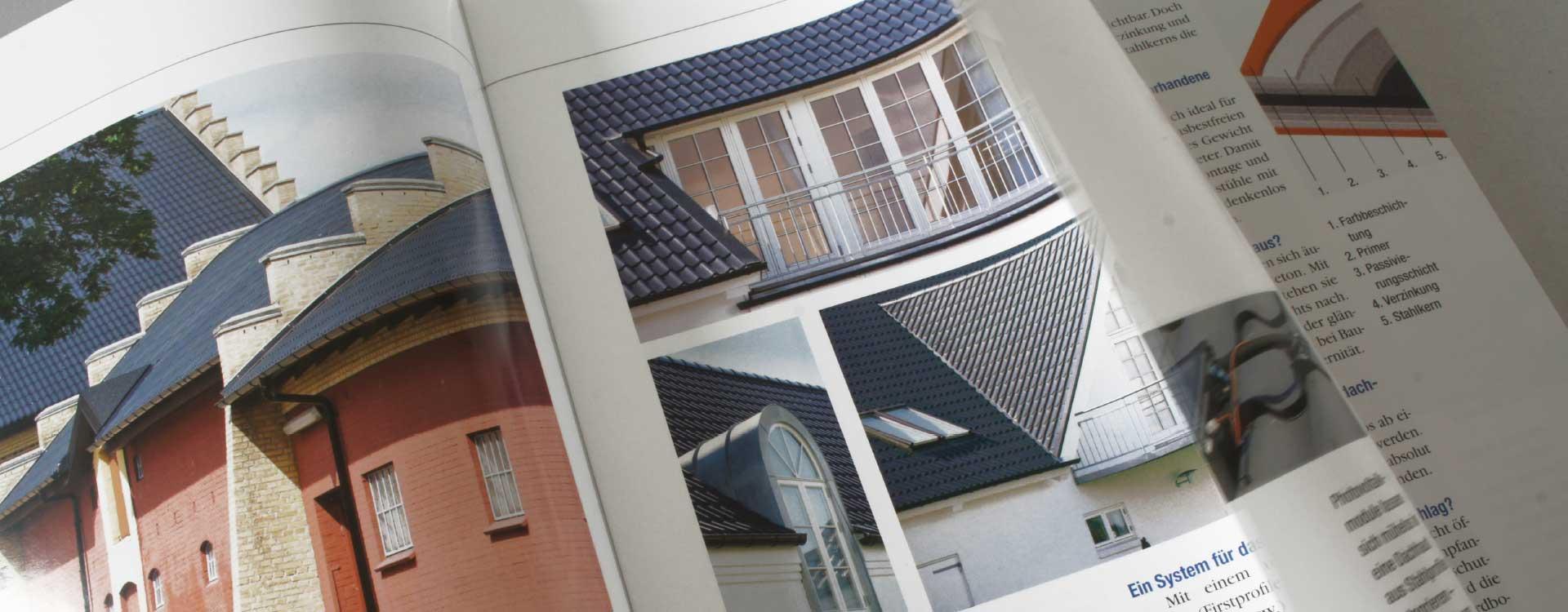 Brochüre Stahldachpfannen aus Stahl – intelligente Lösungen für jedes Dach Stahl-Informations-Zentrum; Design: Kattrin Richter | Graphic Design Studio