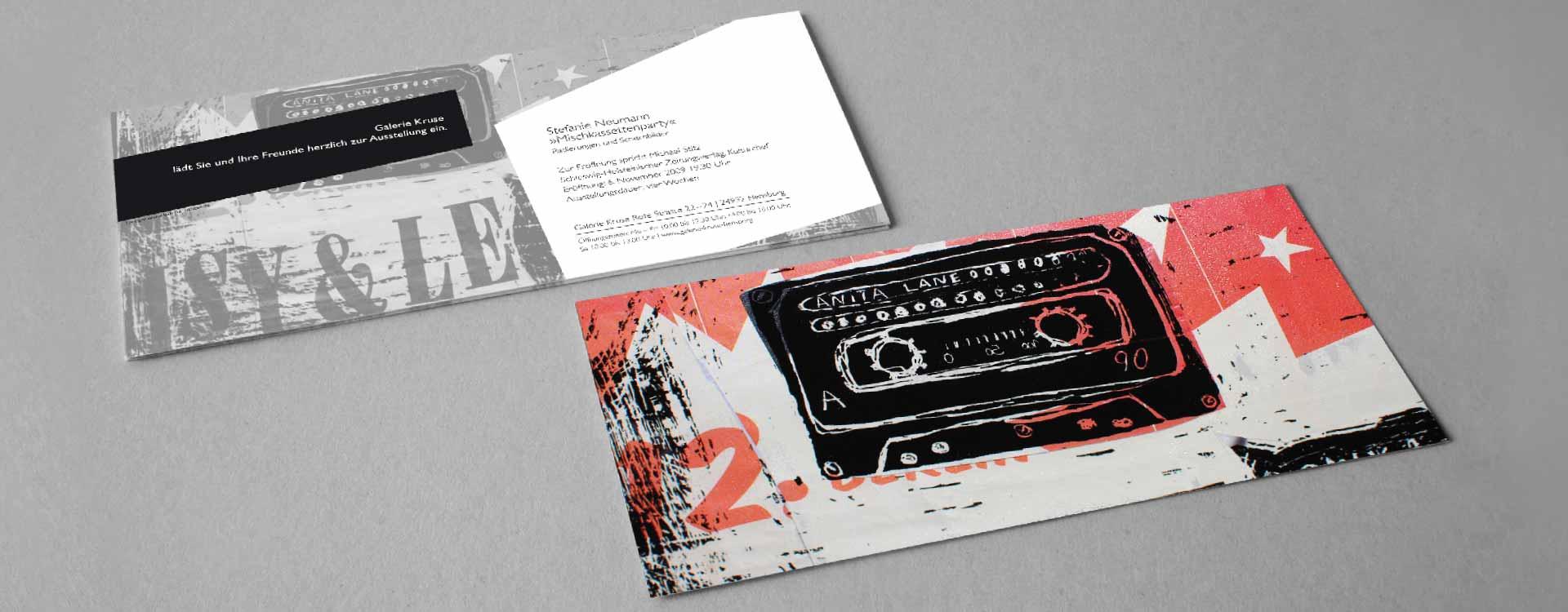 Einladungskarte zur Einzelausstellung von Stefanie Neumann in der Galerie Kruse, Flensburg; Design: Kattrin Richter |Büro für Grafikdesign