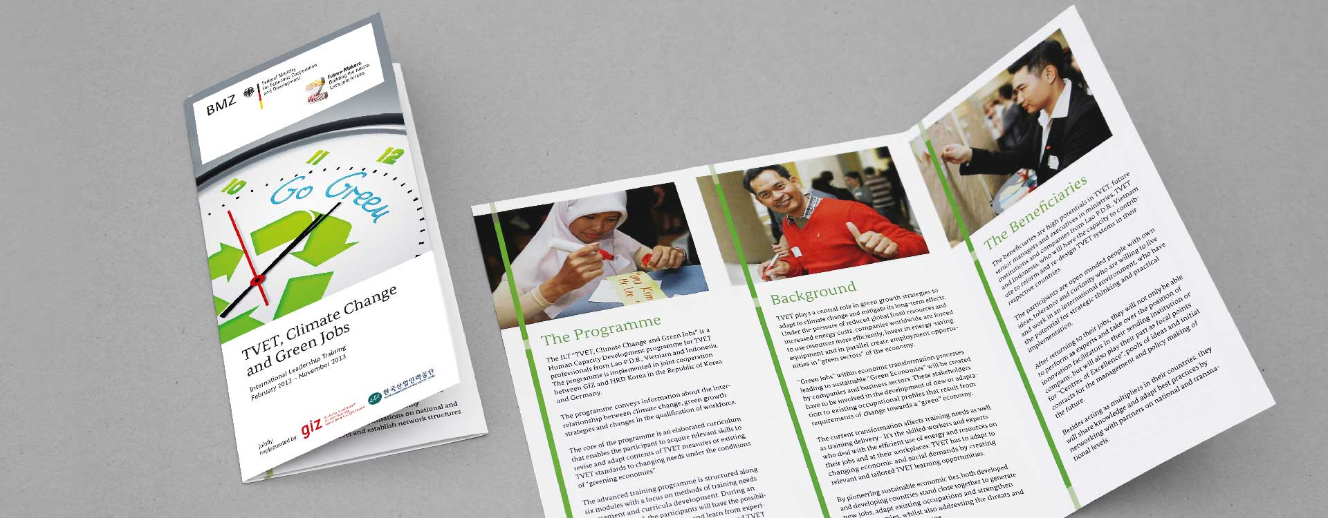 Leaflet for the project of the GIZ Magdeburg Technical Vocational Education and Training, Climate Change and Green Jobs; Design: Kattrin Richter | Graphic Design Studio