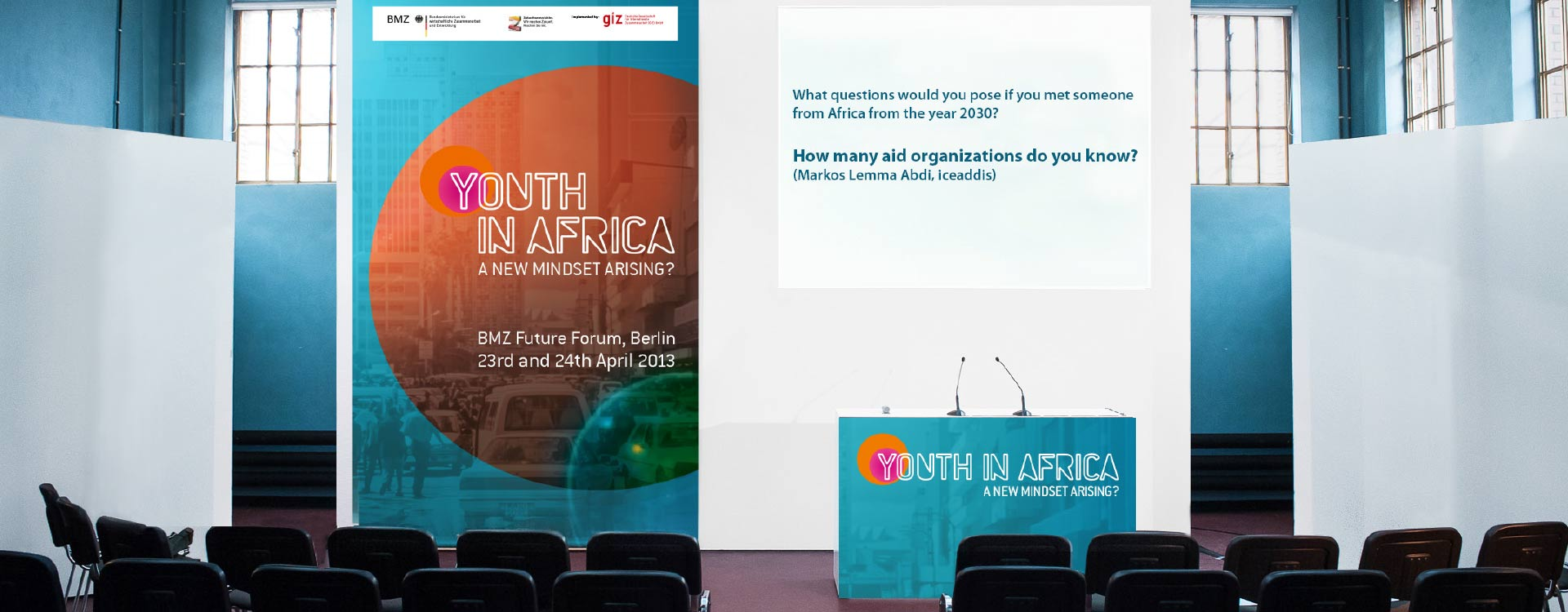 Stage and lectern for the Youth in Africa conference held by the BMZ in the Umspannwerk Kreuzberg, Berlin; Design: Kattrin Richter | Graphic Design Studio
