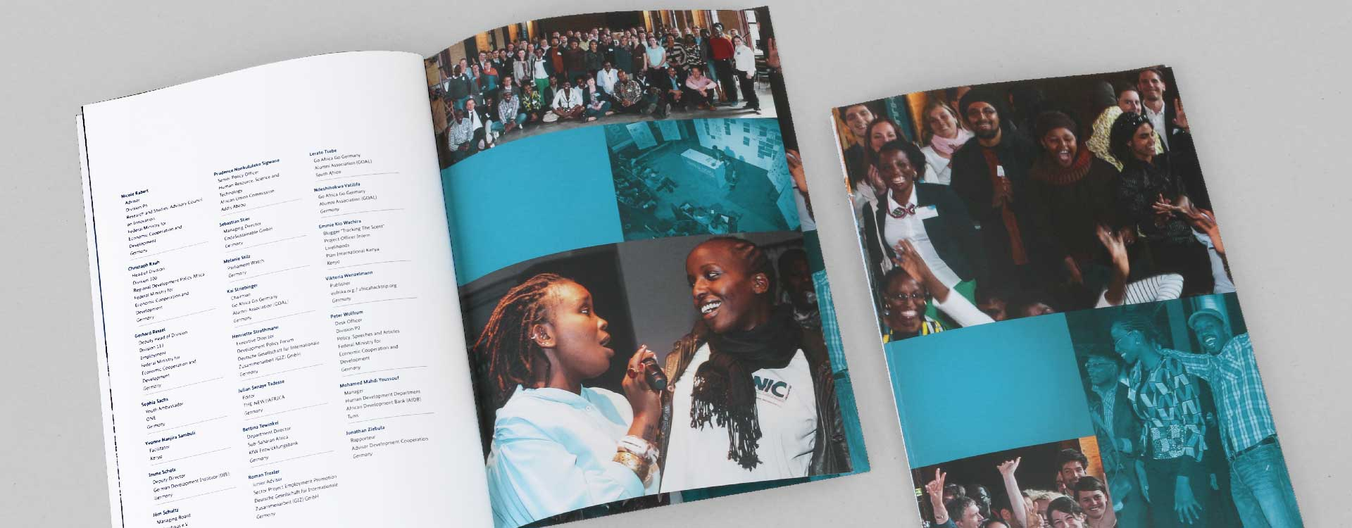 Documentation for the Youth in Africa conference held by the BMZ in the Umspannwerk Kreuzberg, Berlin; Design: Kattrin Richter | Graphic Design Studio