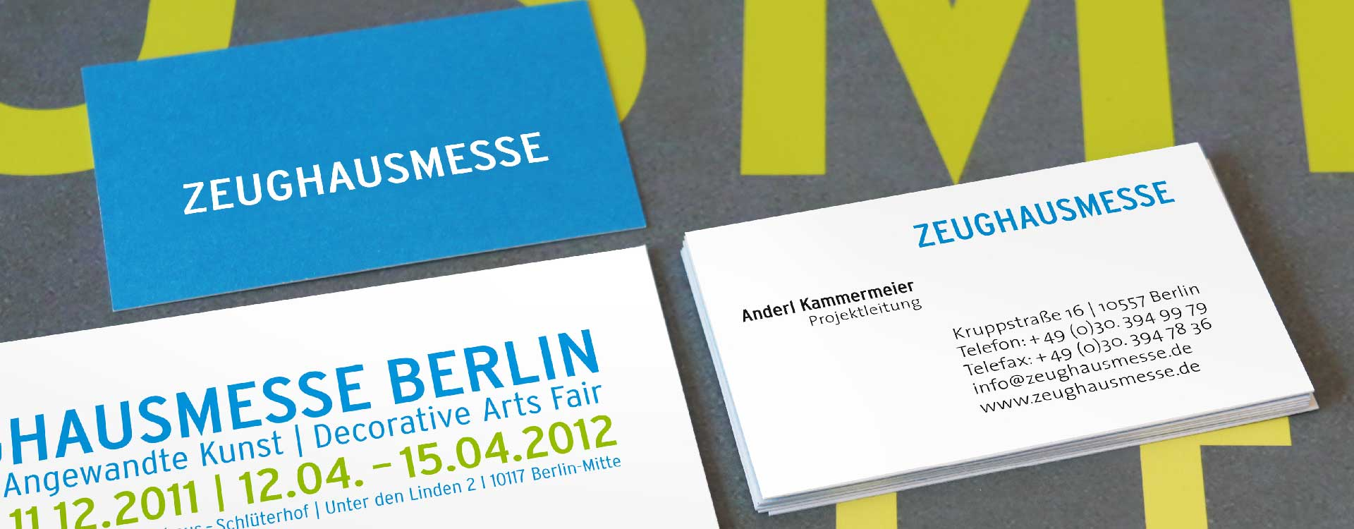 Business card and mailing card of Zeughausmesse; Design: Kattrin Richter | Graphic Design Studio