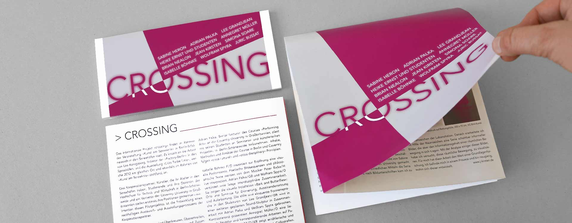 Invitation card for the exhibition Crossing in the Spreehöfen in Berlin Schöneweide; Design: Kattrin Richter | Graphic Design Studio