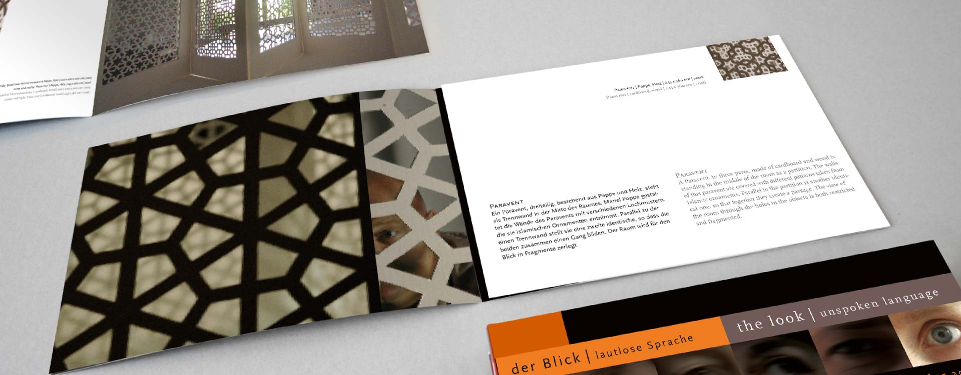 Leaflet about the work of Mariel Poppe in the exhibition Der Blick; Design: Kattrin Richter | Graphic Design Studio