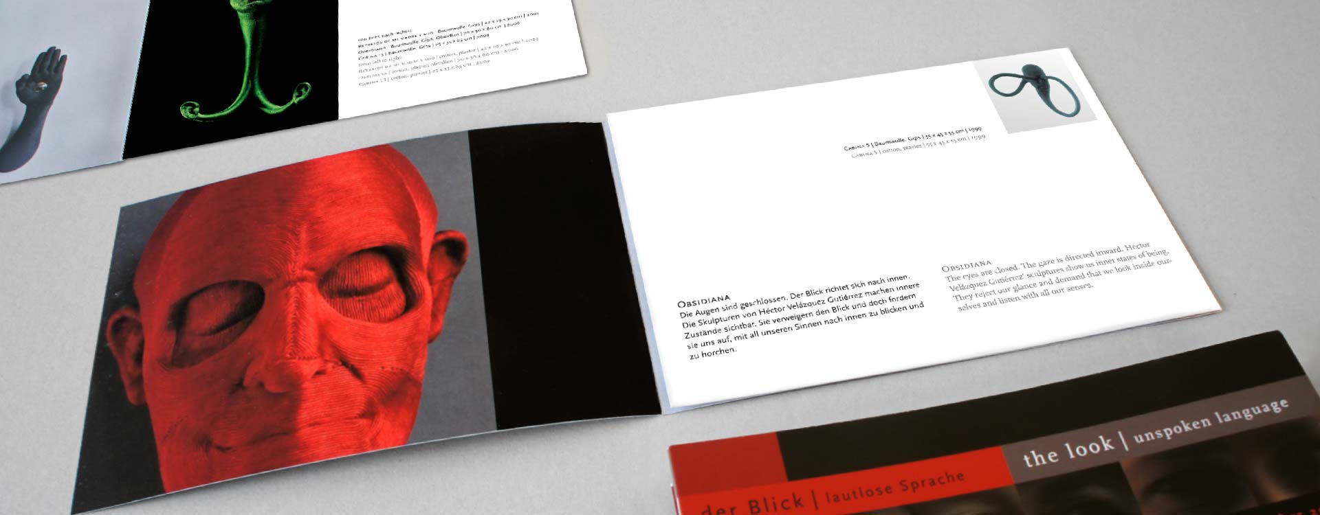 Leaflet about the work of Héctor Velázquez in the exhibition Der Blick; Design: Kattrin Richter | Graphic Design Studio
