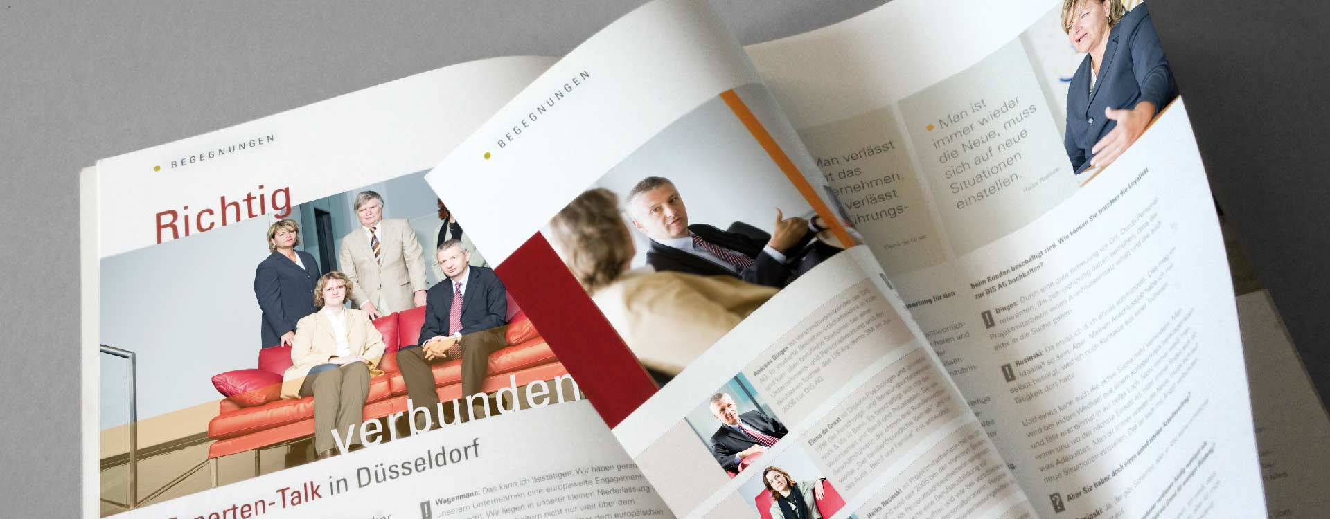 Inside pages of the employee magazine Perspektiven for the DIS AG