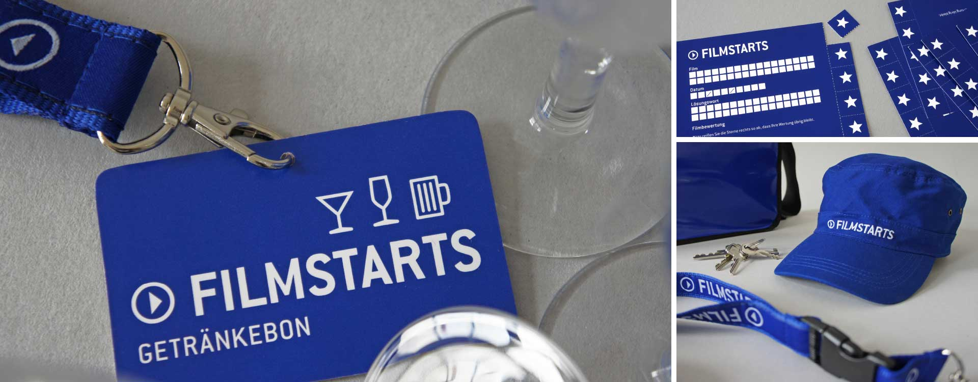 Drink vouchers, film rating cards, and cap with Filmstarts logo