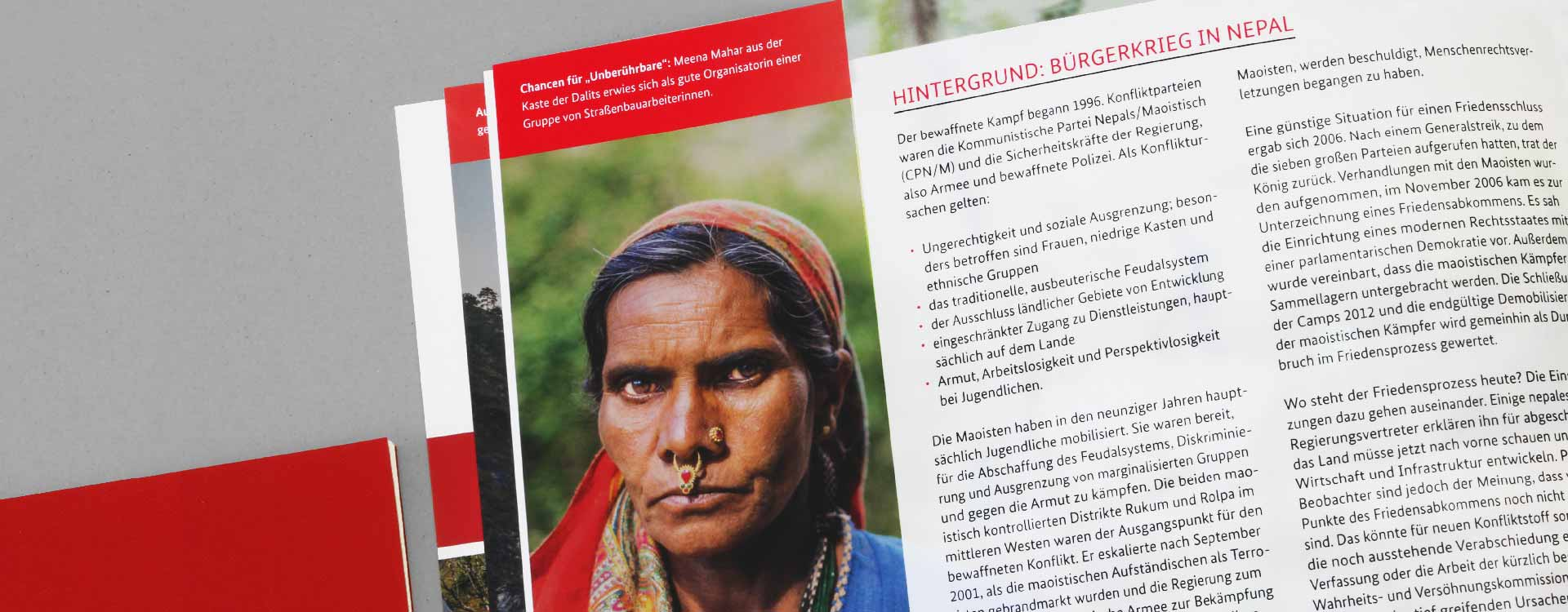 Inside of the brochure German Contribution to the Peace Process in Nepal; Design: Kattrin Richter | Graphic Design Studio