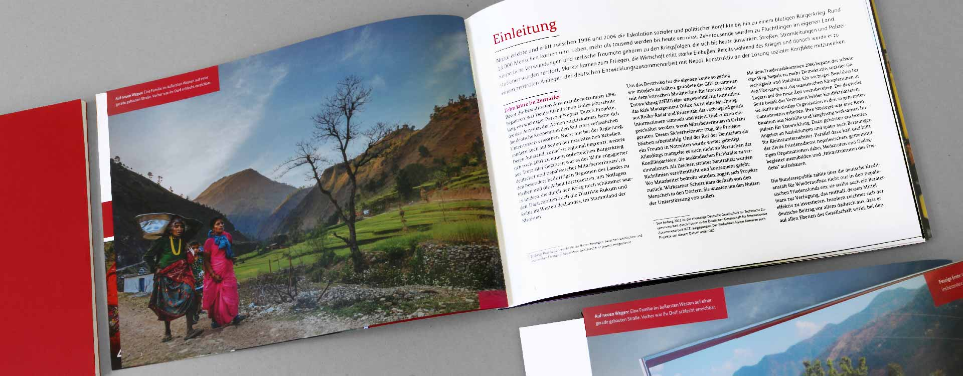 Introduction of the brochure German Contribution to the Peace Process in Nepal; Design: Kattrin Richter | Graphic Design Studio