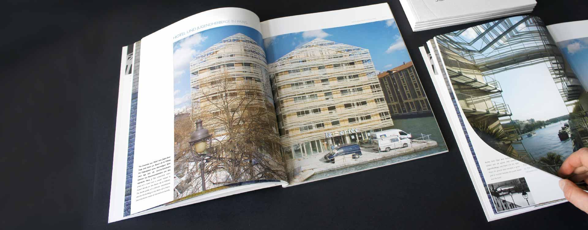 Inside pages of image brochure for JSWD Architekten, Köln; Design: Kattrin Richter | Graphic Design Studio