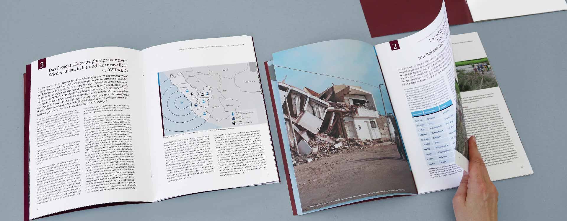 Inside pages of the brochure Disaster Preventive Reconstruction in Peru of the GIZ; Design: Kattrin Richter | Graphic Design Studio