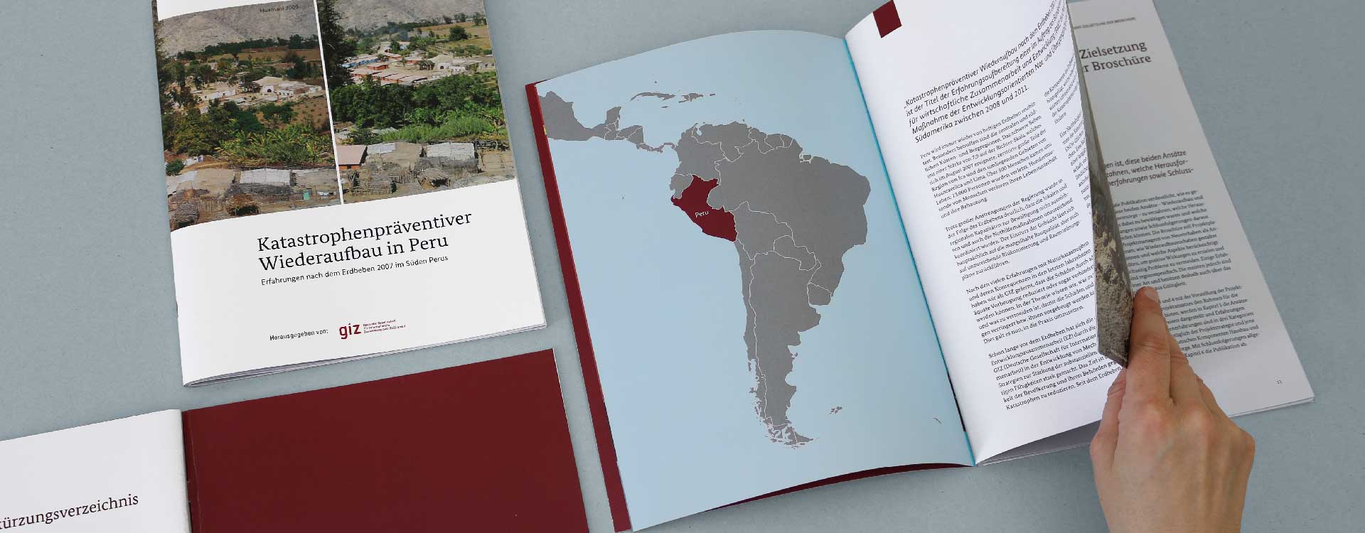 Front cover and Inside pages of the brochure Disaster Preventive Reconstruction in Peru of the GIZ; Design: Kattrin Richter | Graphic Design Studio