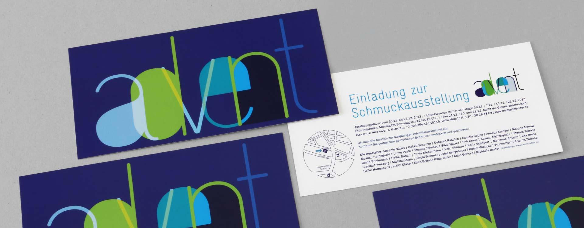 Einladungskarte zur Schmuckausstellung 2013 in der Galerie Michaela Binder, Berlin; Design: Kattrin Richter |Büro für Grafikdesign