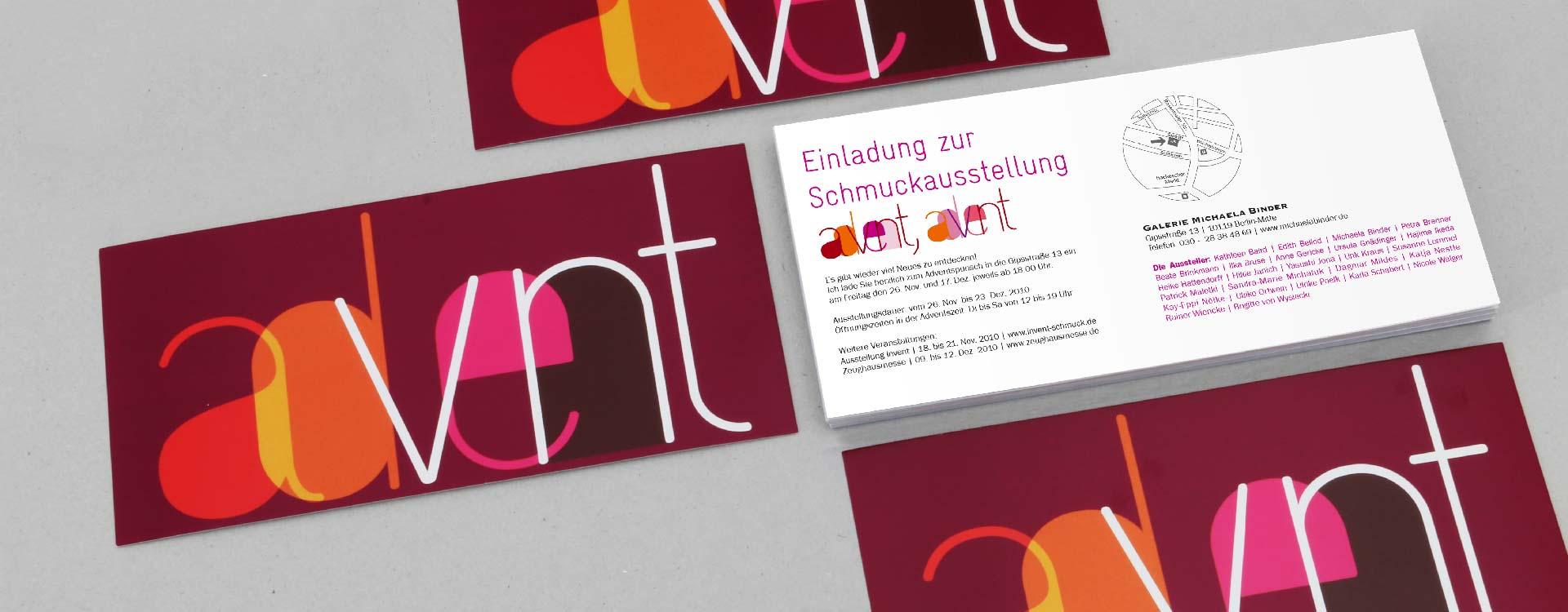 Einladungskarte zur Schmuckausstellung 2010 in der Galerie Michaela Binder, Berlin; Design: Kattrin Richter |Büro für Grafikdesign