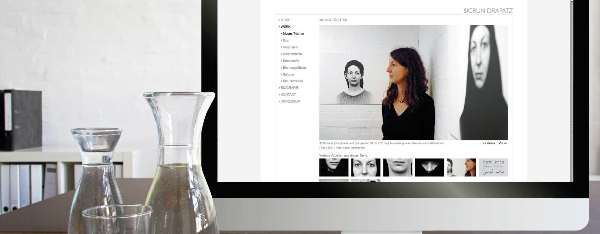 Webseite zur Kunst von Sigrun Drapatz; Design: Kattrin Richter |Büro für Grafikdesign