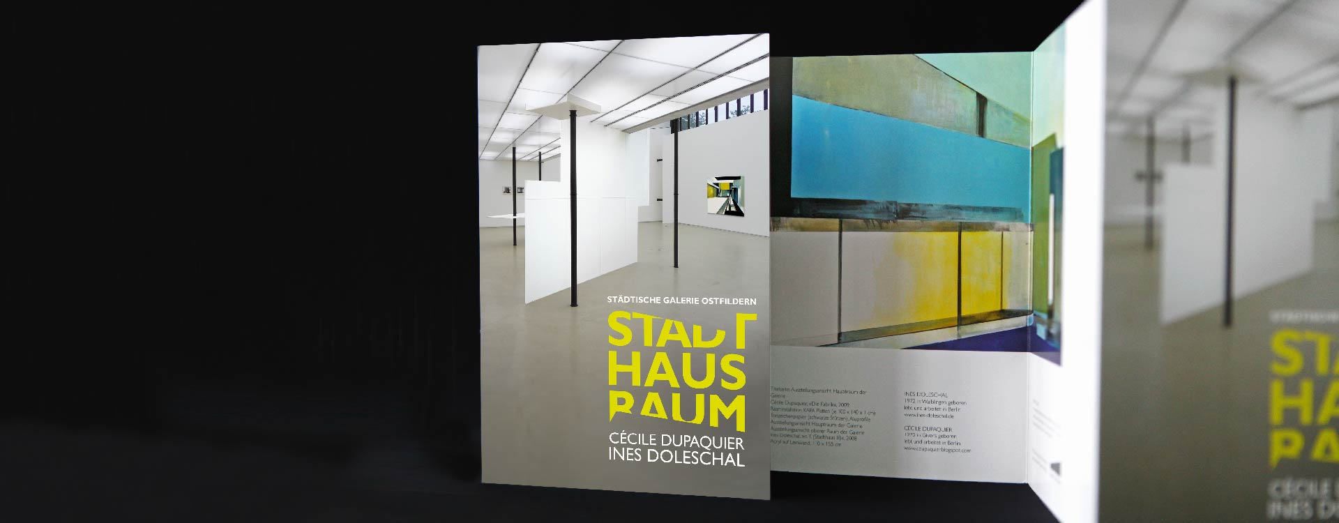 Leaflet for the exhibition StadtHausRaum with Ines Doleschal and Cécile Dupaquier in the Ostfildern Town Gallery; Design: Kattrin Richter | Graphic Design Studio
