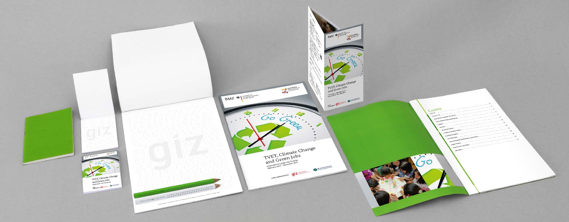 Printed matter for the project of the GIZ Magdeburg Technical Vocational Education and Training, Climate Change and Green Jobs; Design: Kattrin Richter | Graphic Design Studio