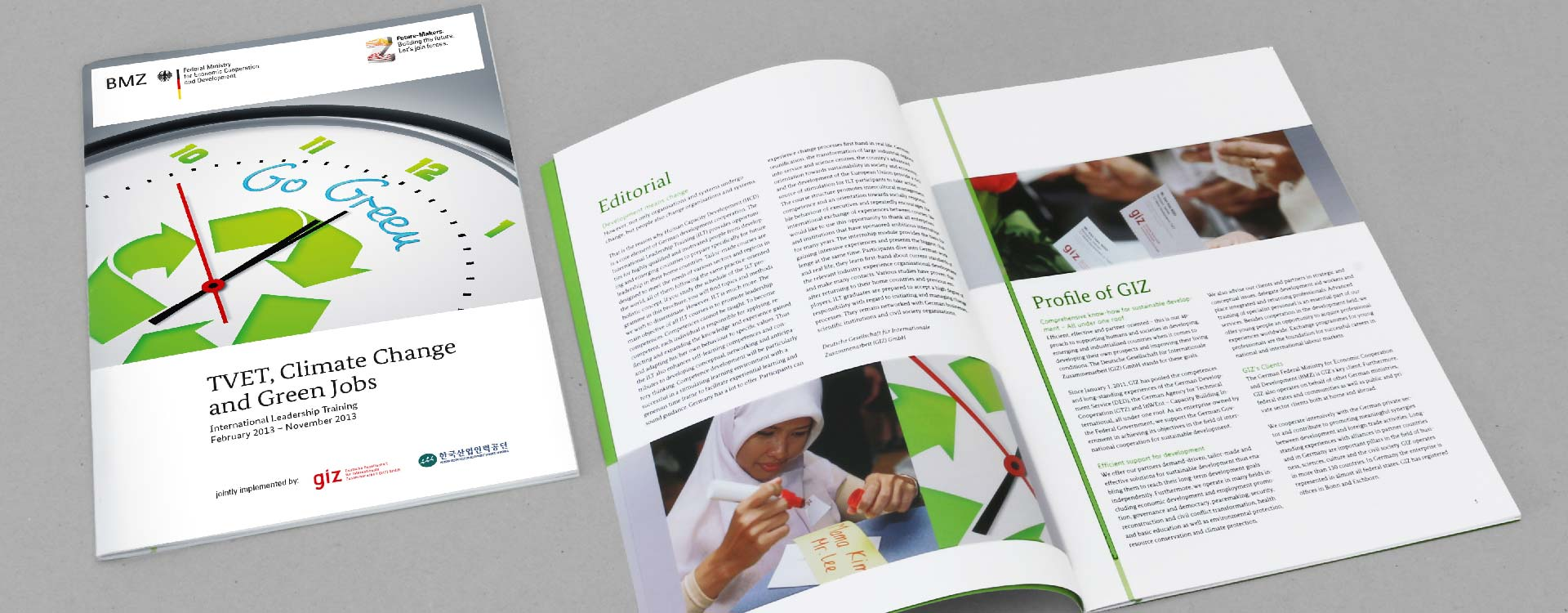 Front cover and inside pages of the brochure Technical Vocational Education and Training, Climate Change and Green Jobs of the GIZ Magdeburg; Design: Kattrin Richter | Graphic Design Studio